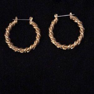 Avon Goldtone Twist Hoop Earrings